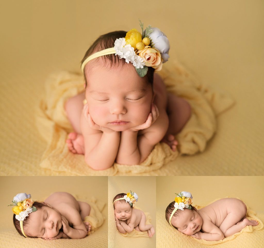 baby girl on yellow