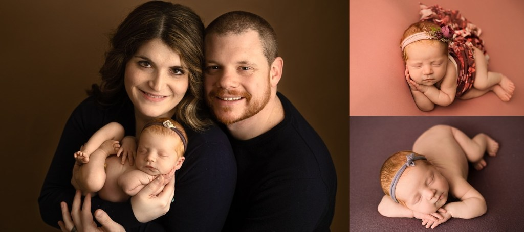 newborn girl posed with mom and dad