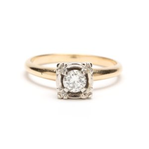 Vintage 14kt Yellow Gold and Diamond Engagement Ring