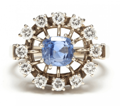 "Retro Modern Period Diamond and Sapphire ""Sputnik"" Ring"