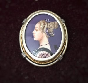 Vintage Sterling Silver and 14kt gold Miniature Portrait Brooch Pendant