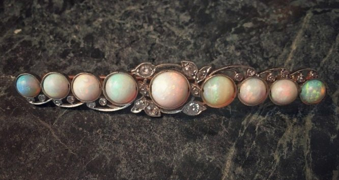 Antique Victorian Yellow Gold and Platinum Opal and Diamond Bar Pin