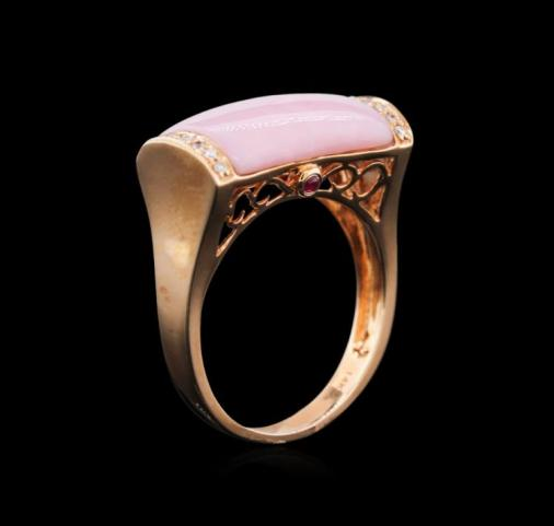 Art Deco Style Estate 14kt Rose Gold, Pink Opal, Diamond and Ruby Ring