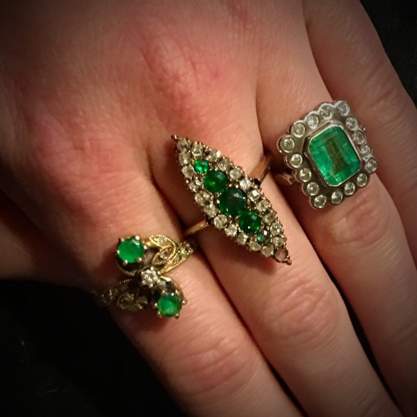 Three Colombian Emerald and Diamond Rings
