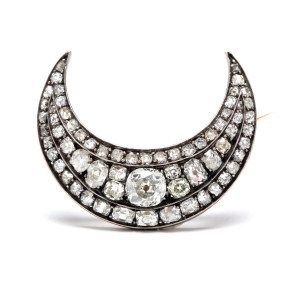 Old European Cut Diamond Crescent Brooch
