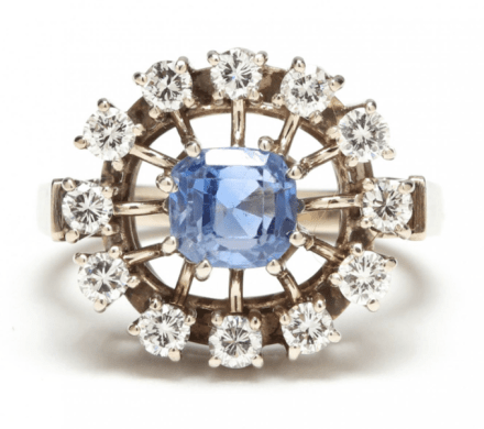 Vintage 14k White Gold Sapphire and Diamond Engagement Ring