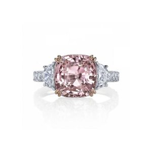 Pink Sapphire and Diamond Engagement Ring