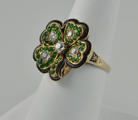 Victorian Emerald Diamond and Onyx Four Leaf Clover Ring