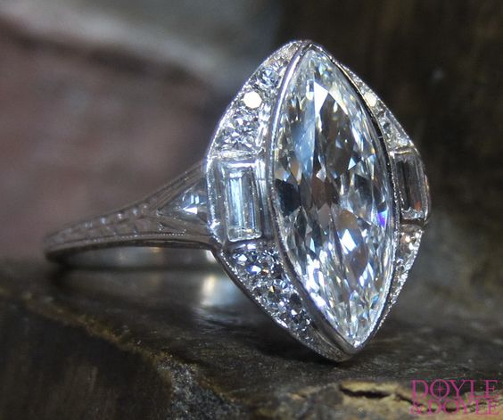 Antique Marquise Diamond Engagement Ring