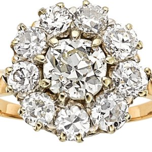 Antique 14kt Yellow Gold and Platinum Old European Cut Diamond Halo Ring