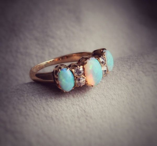 Vintage 18kt Yellow Gold Opal and Diamond Anniversary Band