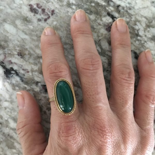 Vintage Green Dyed Chalcedony Ring