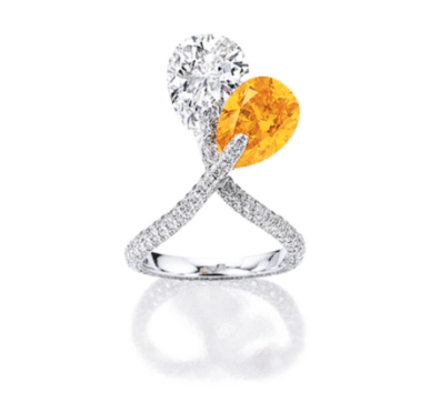 Rare and Important Fancy Vivid Orange Diamond and Diamond Ring - Jewelry auction