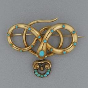 Victorian Gold And Turquoise Snake Brooch