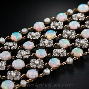 Edwardian Opal and Diamond Choker Necklace