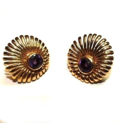 Retro Modern Period Earrings 14kt 1940s amethyst