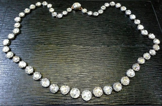 18th Century Georgian Period Rose Cut Diamond Rivière Necklace