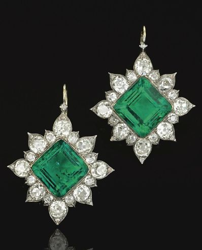 Pair of emerald and diamond earrings, circa 1880