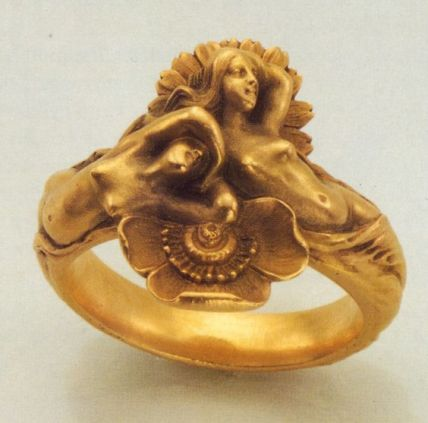 Louis Aucoc Gold Art Nouveau Ring