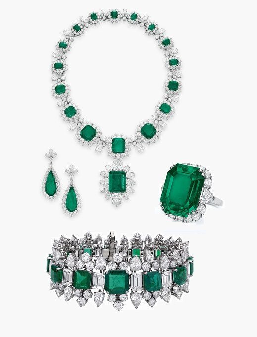 Elizabeth Taylor's Emerald and Diamond Necklace, Brooch, Earrings, Bracelet, and Ring set