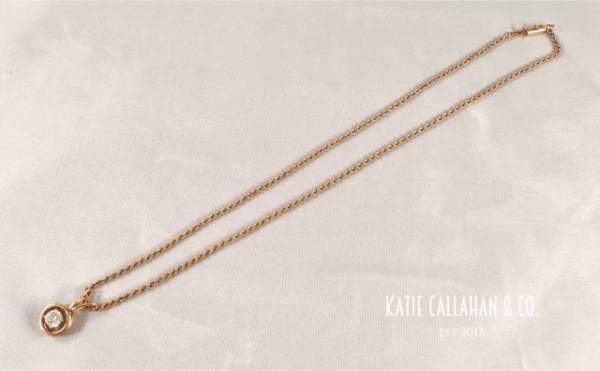 Estate 14kt YG Diamond Pendant and Rope Chain