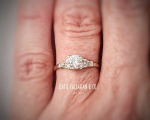 White Gold (14kt) Retro Diamond (.50cts) Engagement Ring (Vintage)