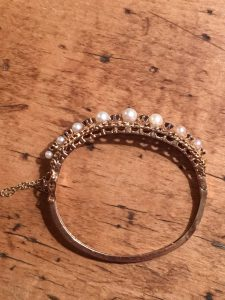 14kt Yellow Gold Sapphire and Pearl Bangle Bracelet (Vintage)