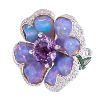 Violet opal ring with amethyst, diamonds and garnets.