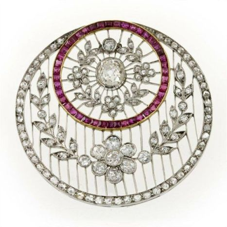 Edwardian Ruby, Diamond and Platinum Brooch