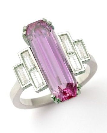 An Art Deco pink topaz and diamond ring.
