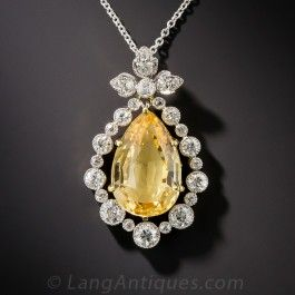 Edwardian Precious Topaz and Diamond Pendant
