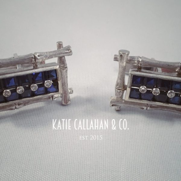 14kt White Gold Sapphire And Diamond Cuff Links (Vintage)