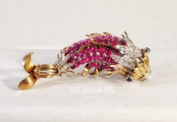 18kt Yellow and White Gold, Ruby, Diamond and Sapphire Koi Brooch
