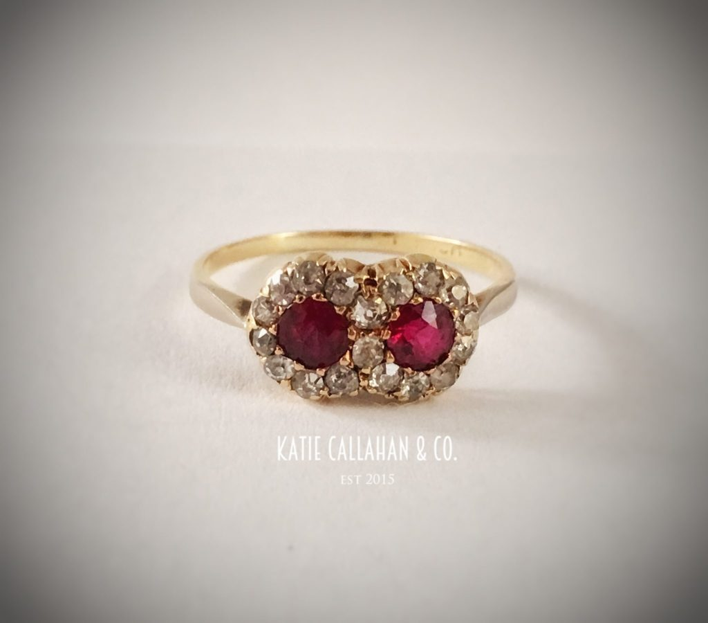 Ruby, Rose Cut Diamonds and 14kt Yellow Gold Double Halo Ring (Antique)