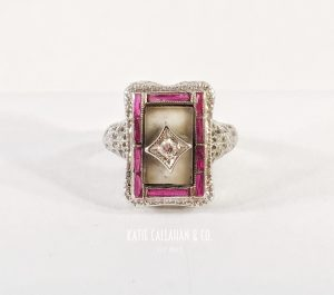 Mother Of Pearl, Diamond and Ruby 14kt White Gold Ring (Vintage)