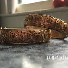 ART NOUVEAU STYLE BRASS BANGLE BRACELETS WITH REPEATING STAR PATTERN