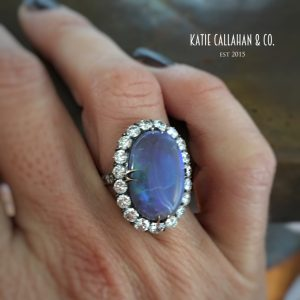 Opal and Diamond Silver Topped 14kt Yellow Gold Ring (Antique)