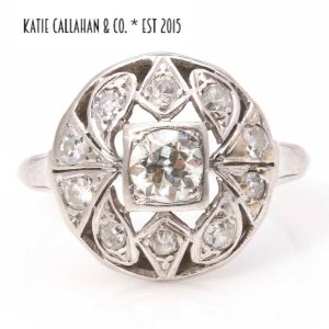 Edwardian 14K White Gold 0.75 CTW Diamond Accent Flower Ring