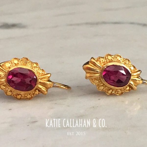 Handmade Etruscan-Style Yellow Gold Pink Tourmaline Earrings