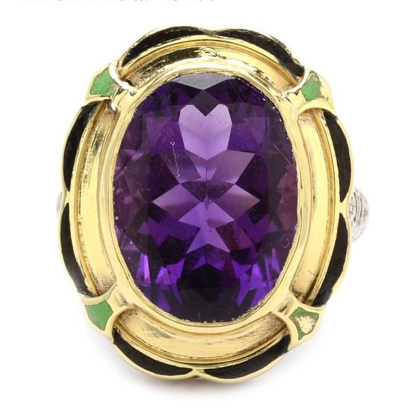 Amethyst and Art Deco 14kt White and Yellow Gold Enameled Ring (Antique)
