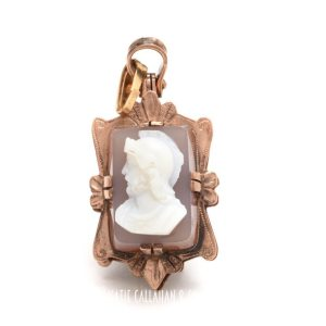 Gold-Filled and Handcarved Banded Agate and Sardonyx Double Fob Locket Pendant (Vintage)
