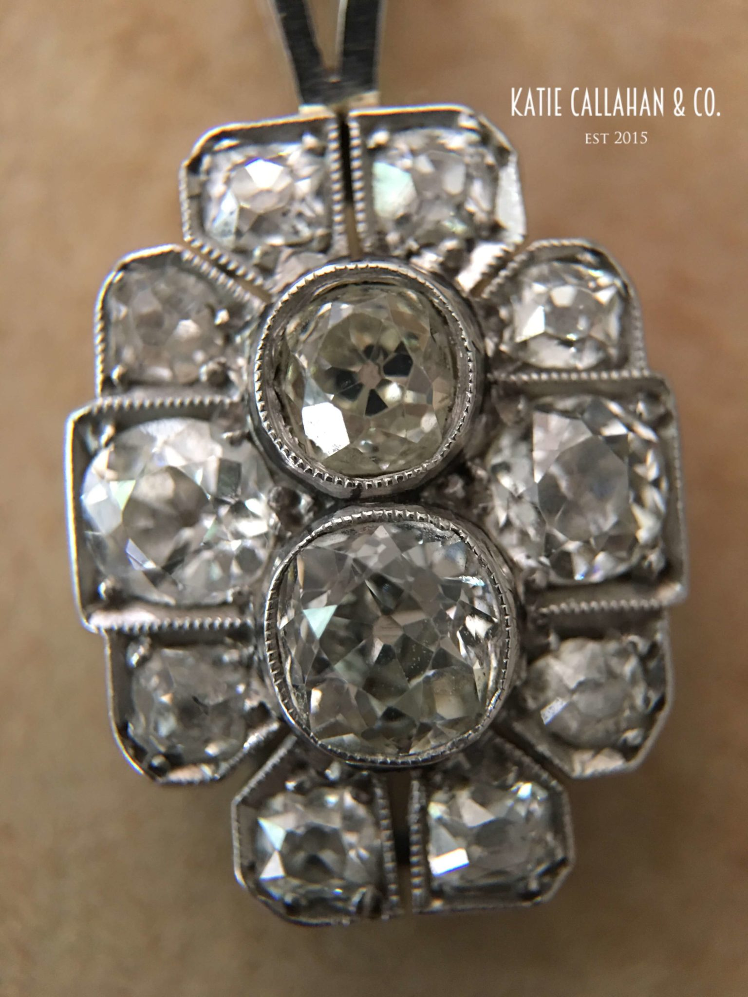 Old European And Old Mine Cut Diamond Pendant Antique
