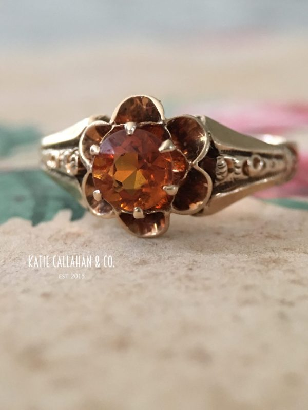 Victorian 10kt Yellow Gold and Orange Glass Ring (Antique)
