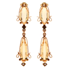 Art Nouveau 14K Yellow Gold Yellow Topaz and Seed Pearl Earrings (Antique)