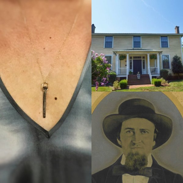Hand Forged 18kt Yellow Gold Nail Pendant From The Historic Thompson House