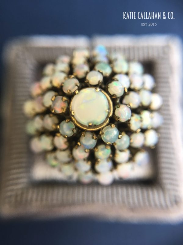 Retro Opal and 14kt Yellow Gold Pyramid Ring (Vintage)
