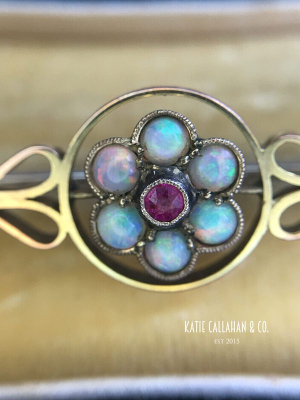 Victorian 9ct Yellow Gold Opal and Ruby Bar Pin (Antique)