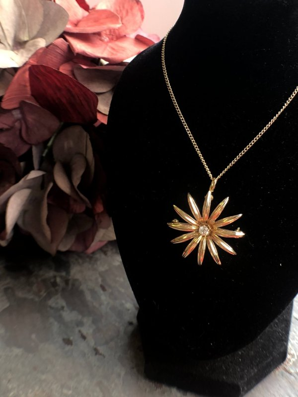 Old European Cut Diamond and 14kt Yellow Gold Daisy Brooch/Pendant (Vintage)