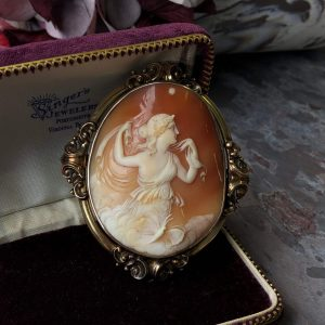 Victorian Yellow Gold Shell Cameo Mourning Brooch (Antique)