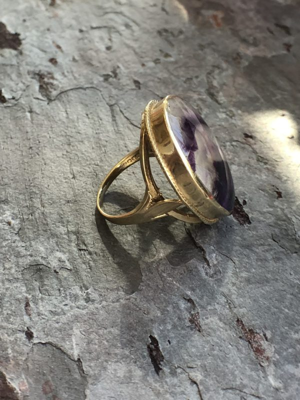 Retro 9ct Yellow Gold Blue John Ring (Vintage)